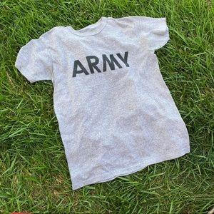 Vtg 80s grey logo ARMY cotton md boxy tee